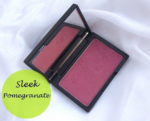 Elegant makeup blush gennemgang og farveprøver: granatæble