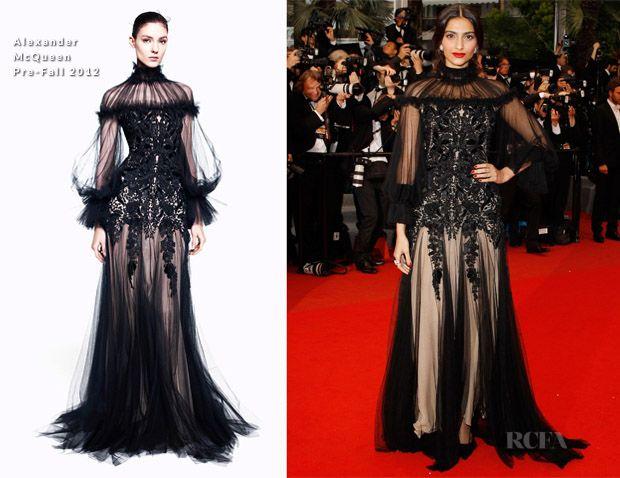Sonam kapoor cannes 2012: alexander mcqueen kjole, makeup opdeling